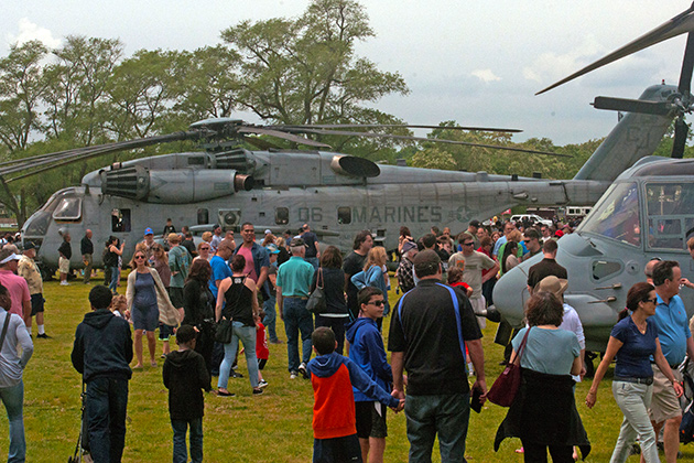 military helicopters and visitors at Playland Park